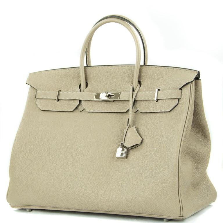 Beige Hermes Birkin Bag 40cm Gris Tourterelle Togo PHW For Sale