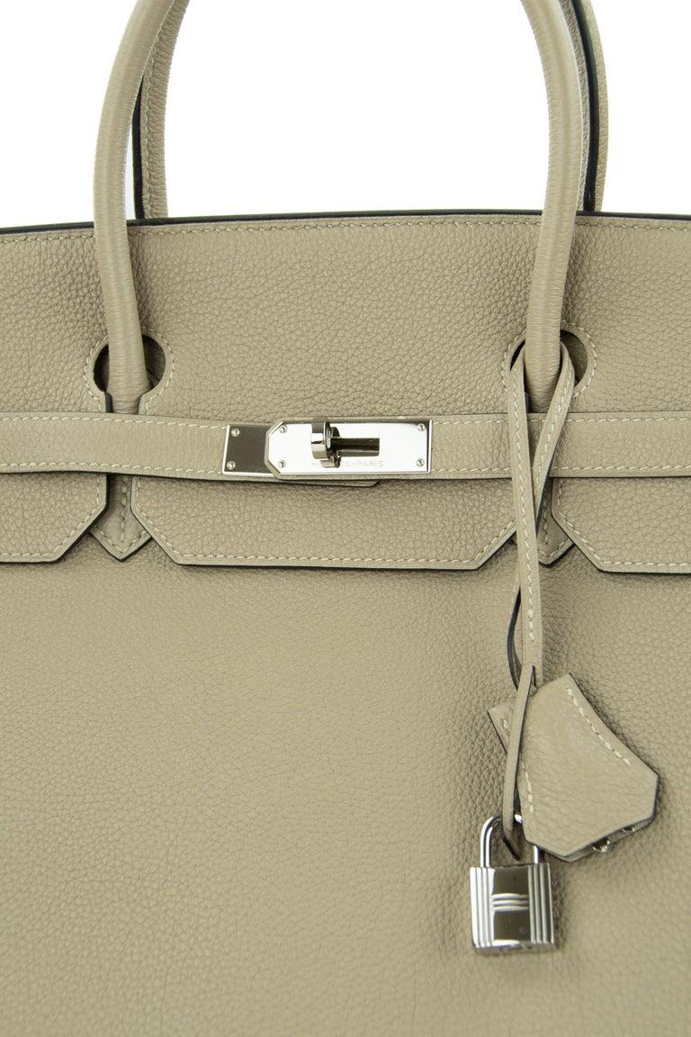 Women's or Men's Hermes Birkin Bag 40cm Gris Tourterelle Togo PHW For Sale