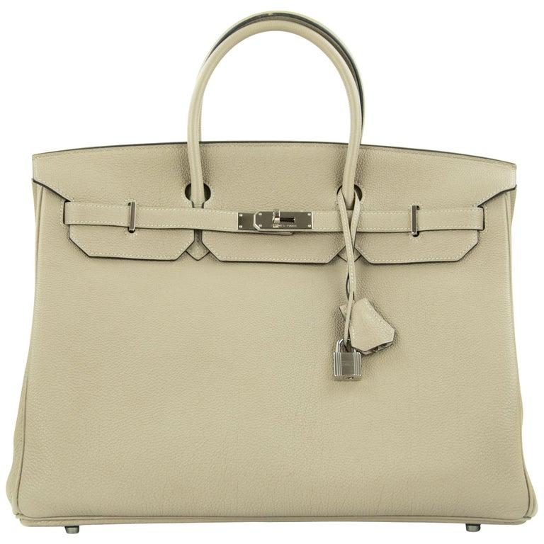 Hermes Birkin Bag 40cm Gris Tourterelle Togo PHW For Sale