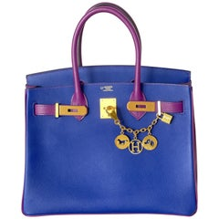 Hermes Birkin Bag HSS 2 Tone Anemone Blue Electric Brush Gold
