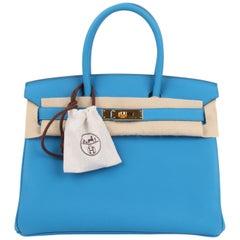 Hermes Birkin Bag Togo 30 Bleu Zanzibar Gold Hardware - New- Very Rare