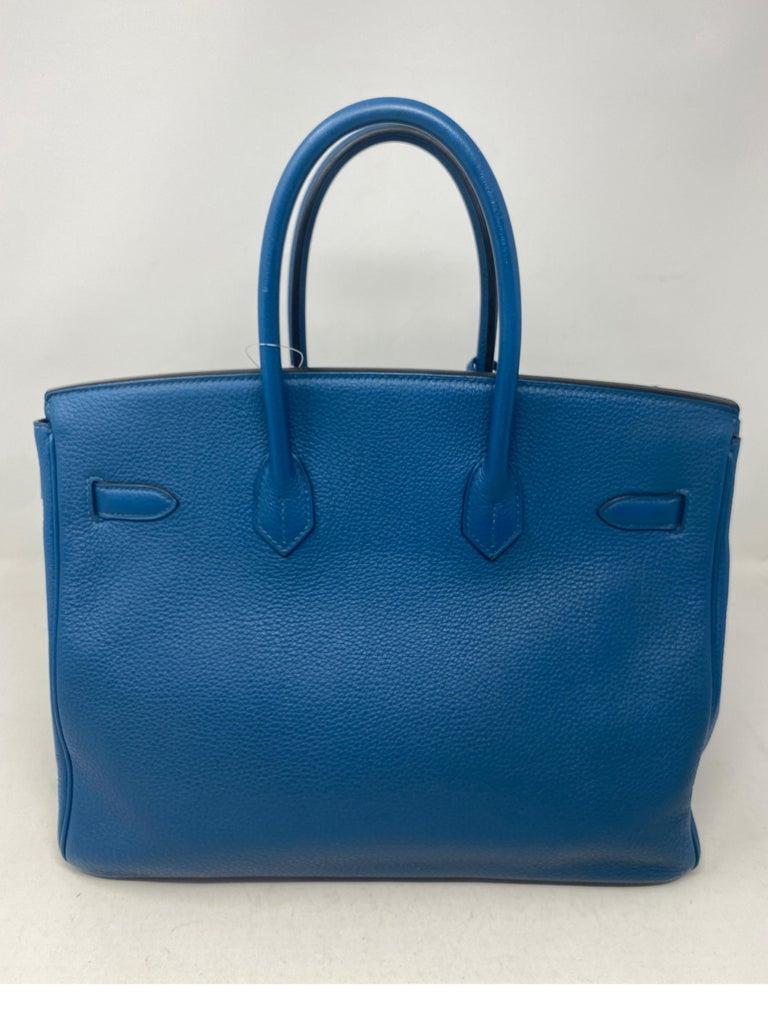 Hermes Birkin Blue Colvert 35 Bag  For Sale 6