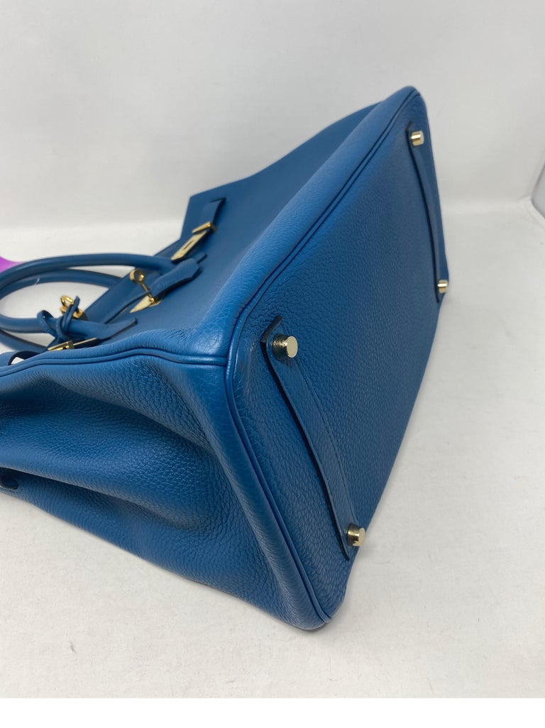 Hermes Birkin Blue Colvert 35 Bag  For Sale 7