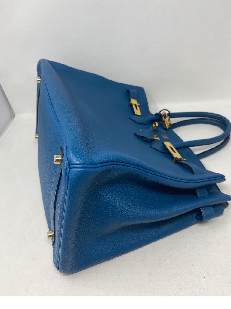 Hermes Birkin Blue Colvert 35 Bag  For Sale 8