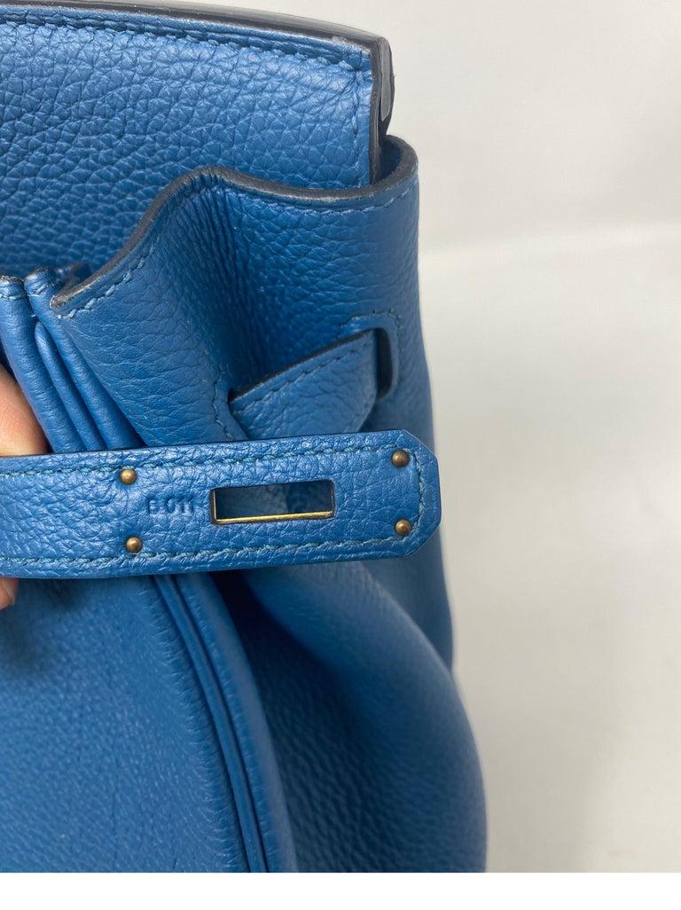 Hermes Birkin Blue Colvert 35 Bag  For Sale 9