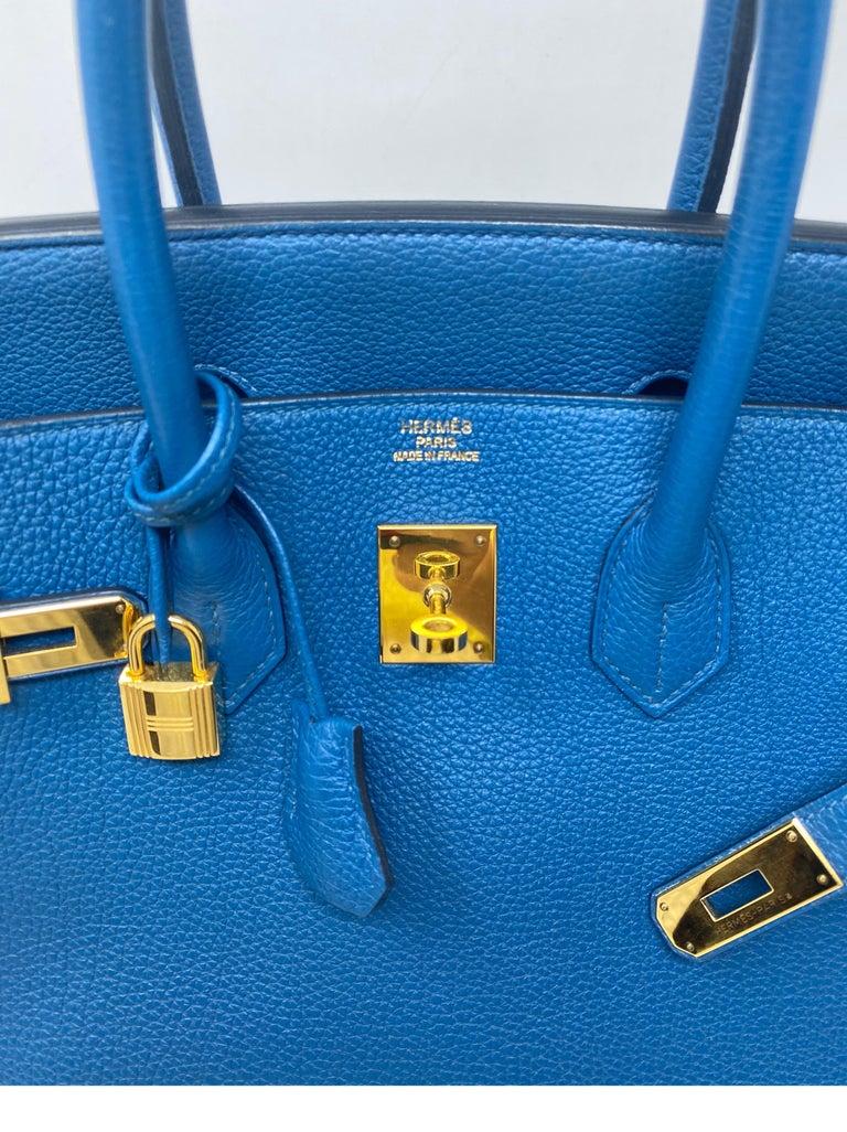 Hermes Birkin Blue Colvert 35 Bag  For Sale 10