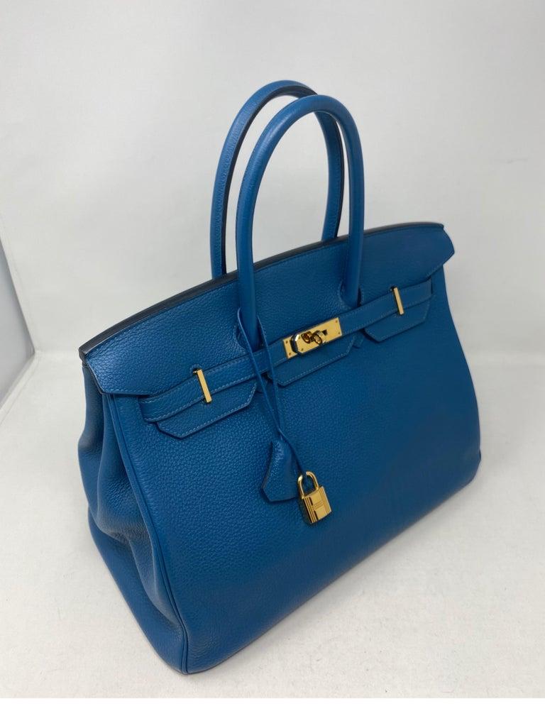 Hermes Birkin Blue Colvert 35 Bag  For Sale 11