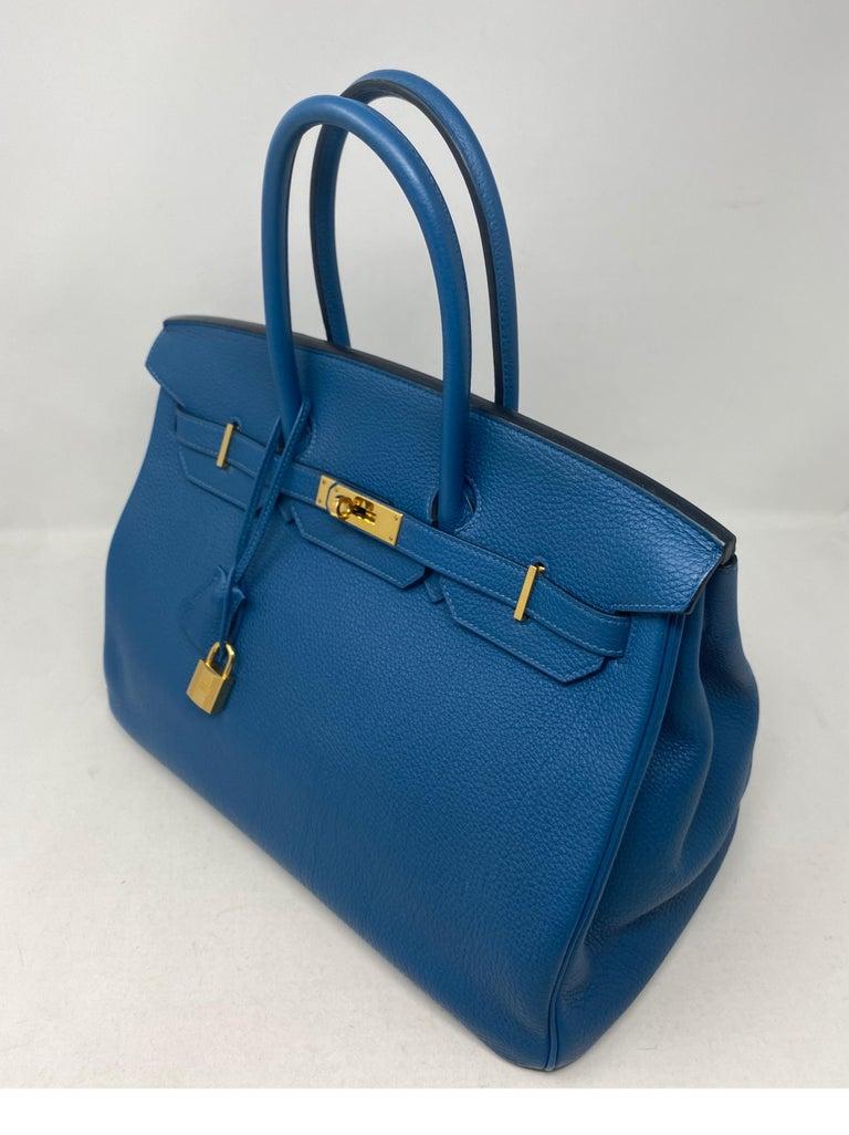 Hermes Birkin Blue Colvert 35 Bag  For Sale 12