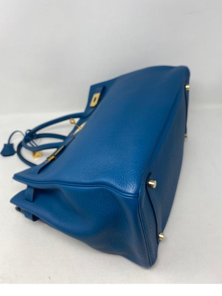 Hermes Birkin Blue Colvert 35 Bag  For Sale 1