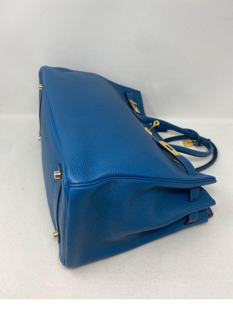 Hermes Birkin Blue Colvert 35 Bag  For Sale 2