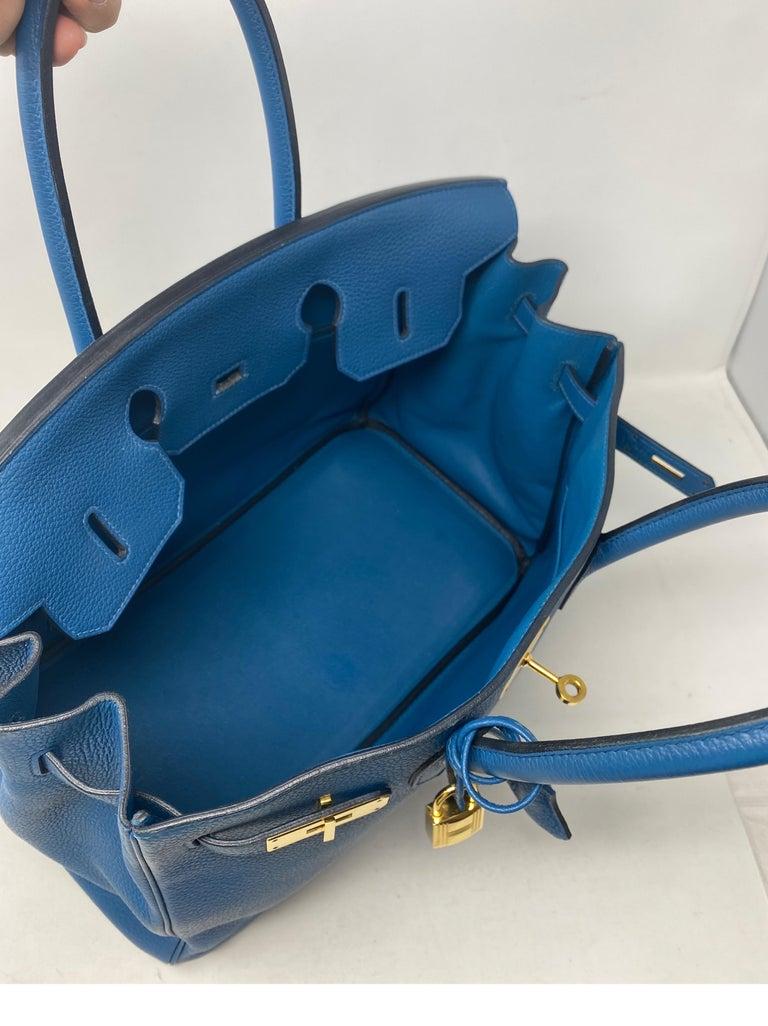 Hermes Birkin Blue Colvert 35 Bag  For Sale 4