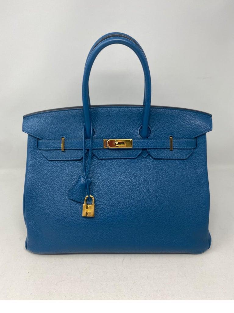 Hermes Birkin Blue Colvert 35 Bag  For Sale 5