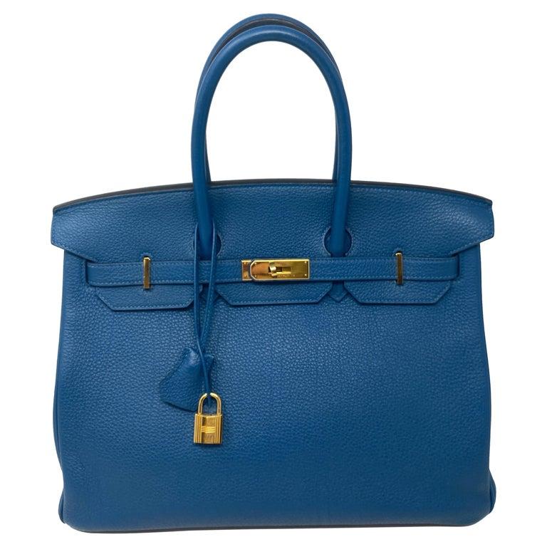 Hermes Birkin Blue Colvert 35 Bag  For Sale