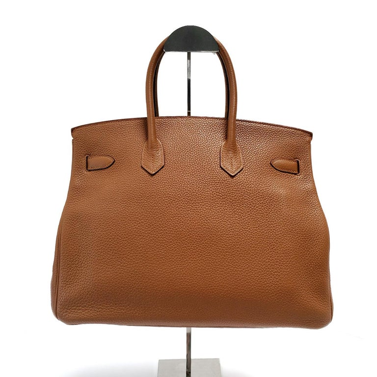 Brown Hermes Birkin Club 35 Tri-Color Striped Hand Bag For Sale