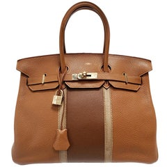 Hermes Birkin Club 35 Tri-Color Striped Hand Bag