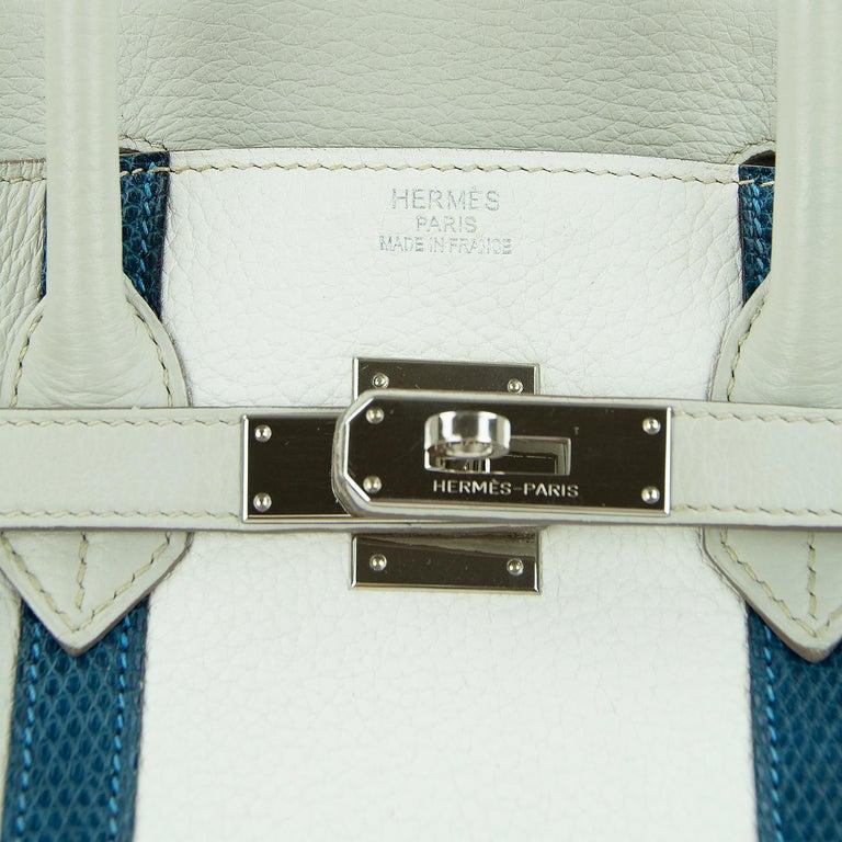Hermes Birkin Club Bag 35cm Gris Perle Mykonos Lizard White Clemence PHW  For Sale 5