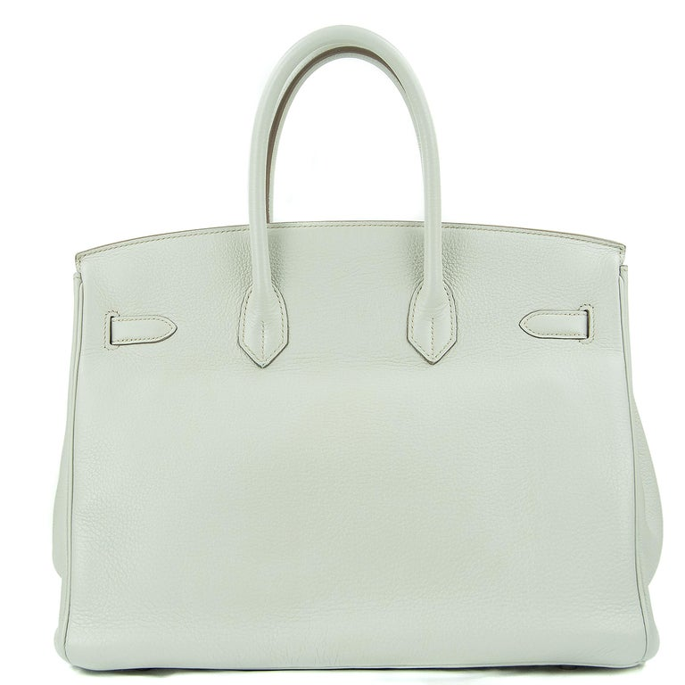 Hermes 35cm Birkin bag in Gris Perle Mykonos Lizard White Clemence. This iconic special order Hermes Birkin bag is timeless and chic. Fresh and crisp with palladium hardware.      Condition: Excellent, Previously Used     Made in France     Bag
