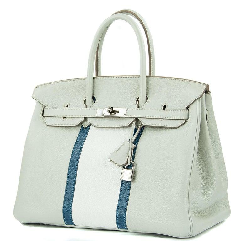 Gray Hermes Birkin Club Bag 35cm Gris Perle Mykonos Lizard White Clemence PHW  For Sale