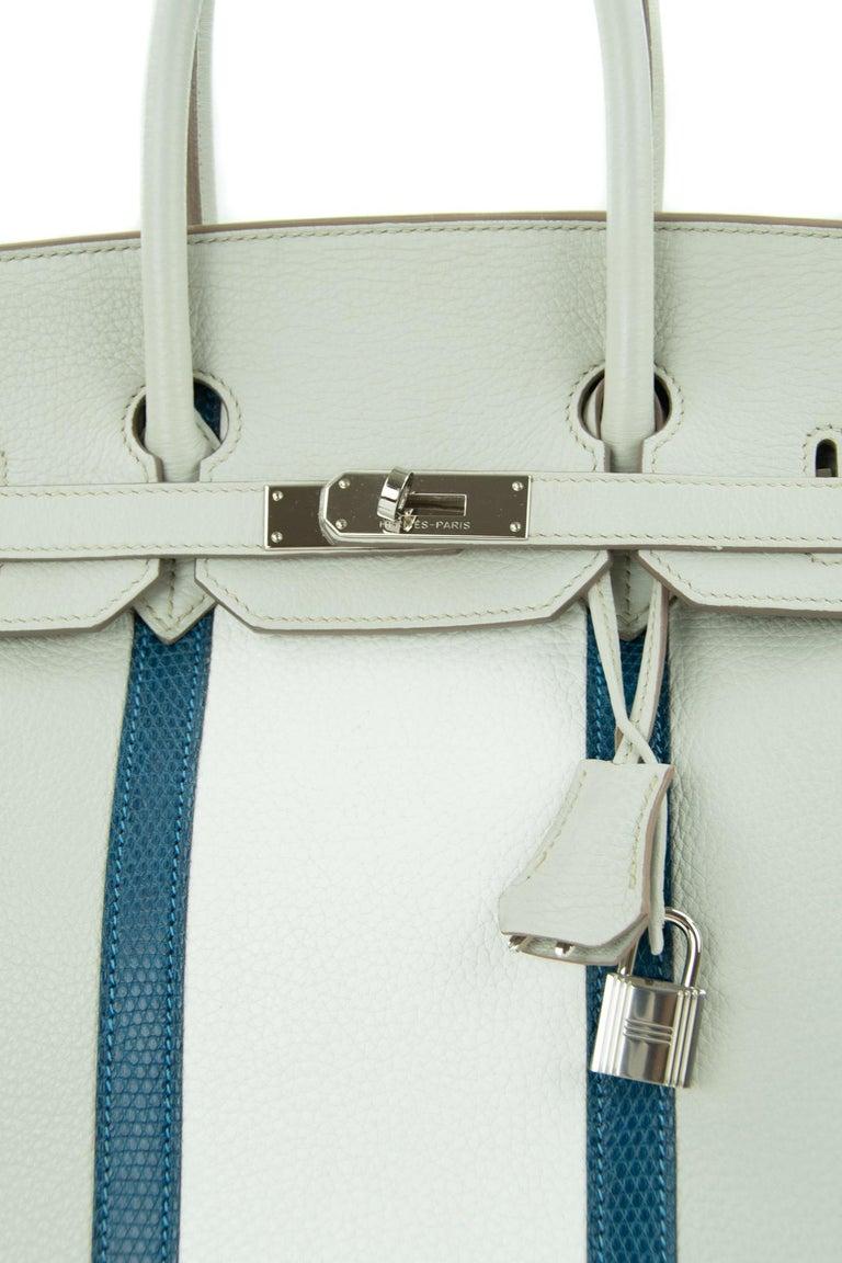 Women's or Men's Hermes Birkin Club Bag 35cm Gris Perle Mykonos Lizard White Clemence PHW  For Sale