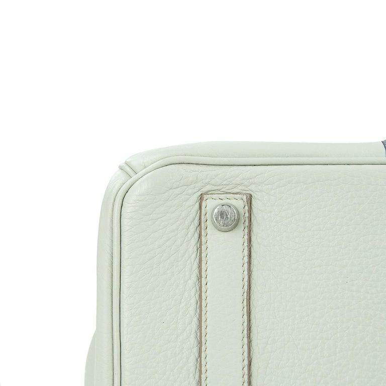 Hermes Birkin Club Bag 35cm Gris Perle Mykonos Lizard White Clemence PHW  For Sale 1
