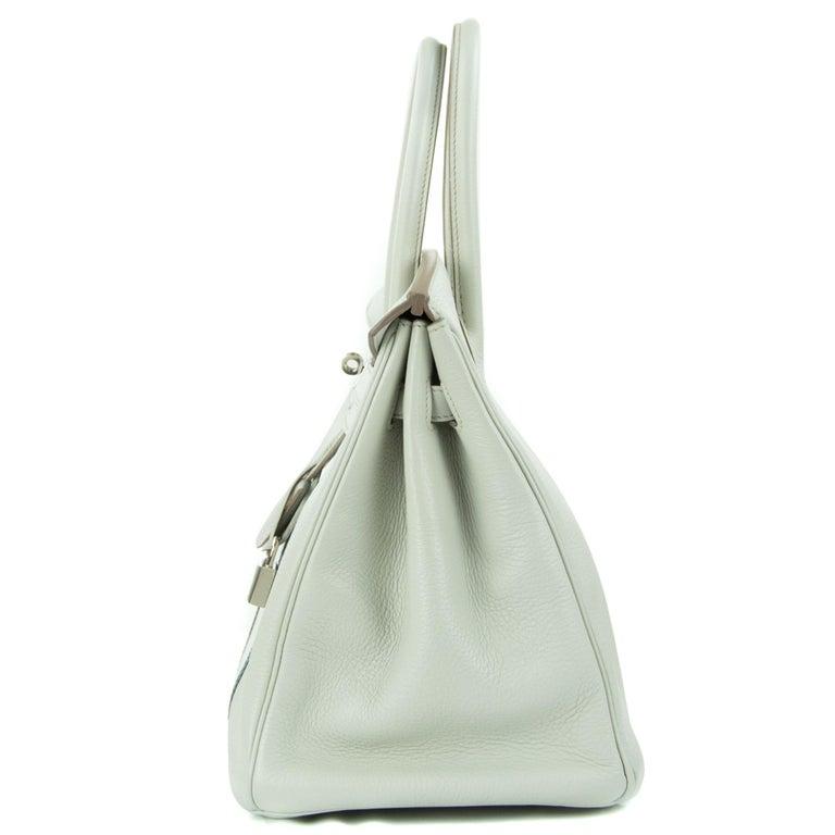 Hermes Birkin Club Bag 35cm Gris Perle Mykonos Lizard White Clemence PHW  For Sale 4