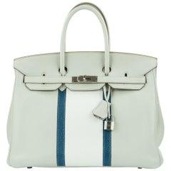 Hermes Birkin Club Bag 35cm Gris Perle Mykonos Lizard White Clemence PHW