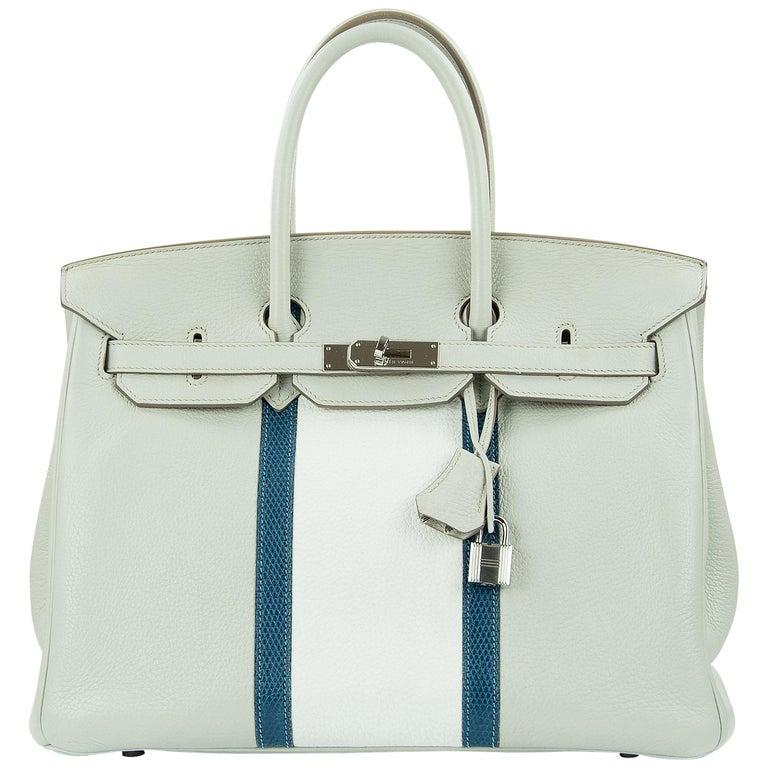 Hermes Birkin Club Bag 35cm Gris Perle Mykonos Lizard White Clemence PHW  For Sale