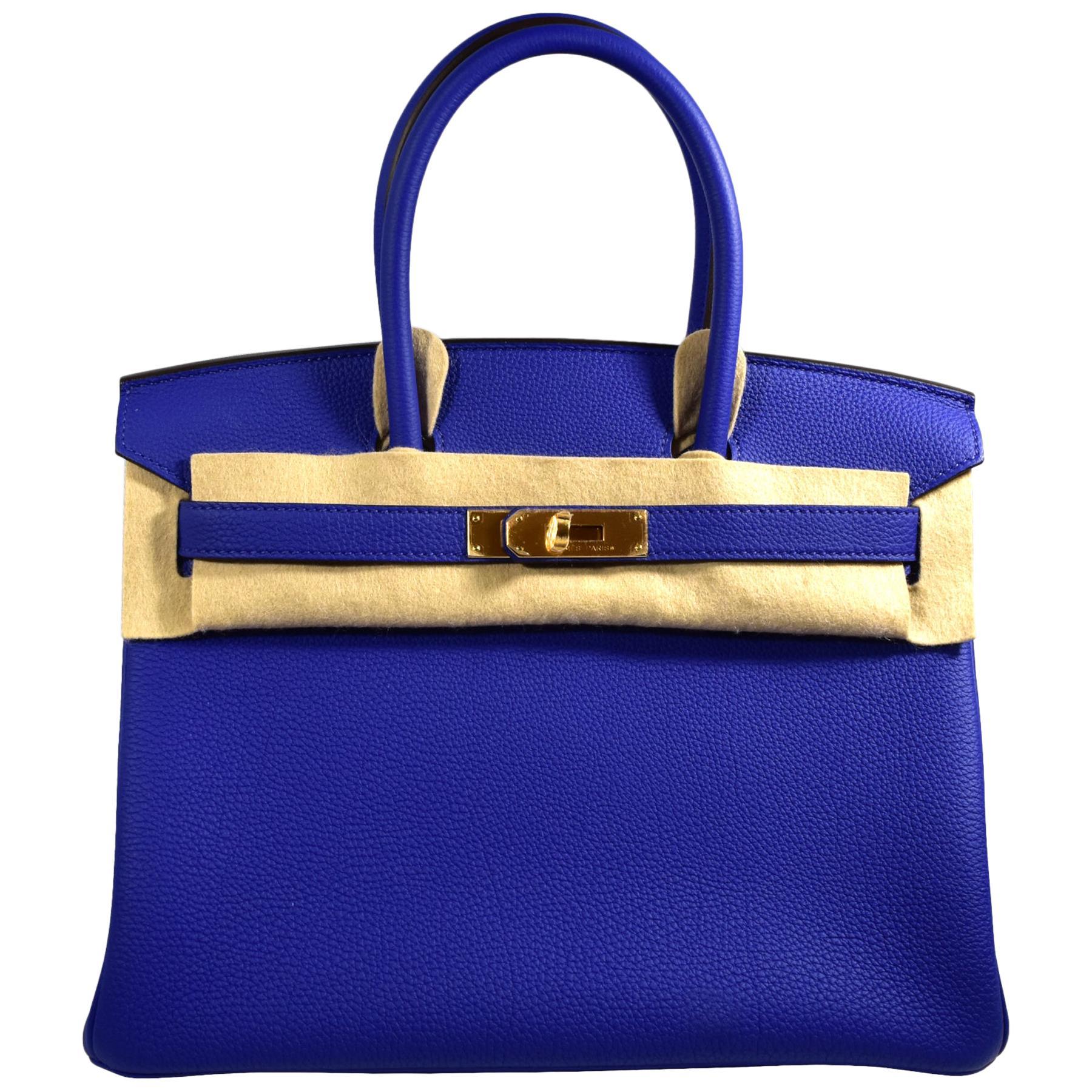 Hermes Birkin Electric Blue Gold Hardware Handbag