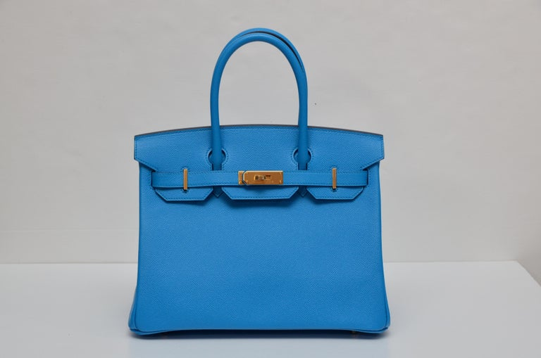 Hermes Birkin 30 cm  Color :Bleu Frida Store fresh ,brand new never used with  lock and keys in the clochette, signature Hermes box, sleeper and raincoat.  Made in France We are attaching few different pictures for our clients to see the beautiful