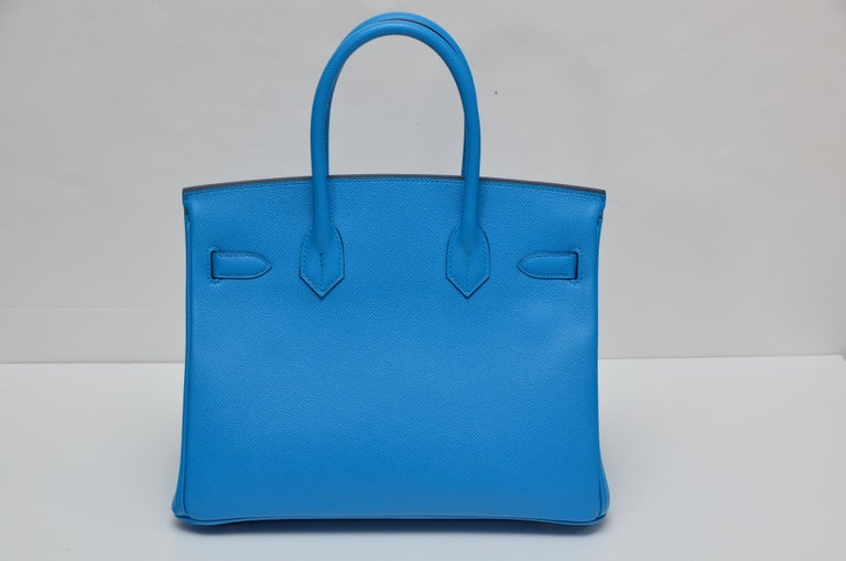 Blue HERMES Birkin Epsom Calfskin Bleu Frida 30 CM    NEW Store Fresh For Sale