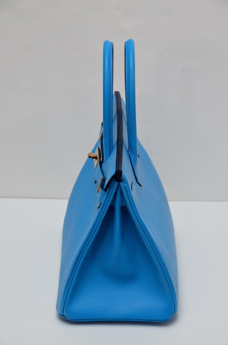 HERMES Birkin Epsom Calfskin Bleu Frida 30 CM    NEW Store Fresh In New Condition For Sale In New York, NY