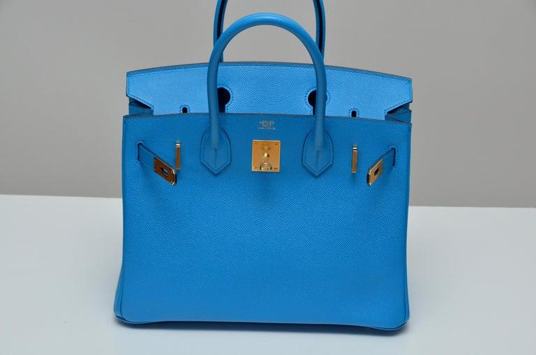 Women's or Men's HERMES Birkin Epsom Calfskin Bleu Frida 30 CM    NEW Store Fresh For Sale