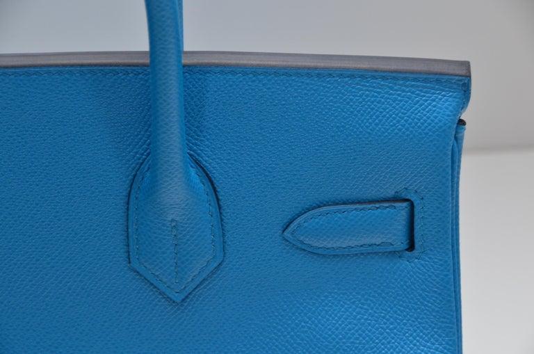 HERMES Birkin Epsom Calfskin Bleu Frida 30 CM    NEW Store Fresh For Sale 2
