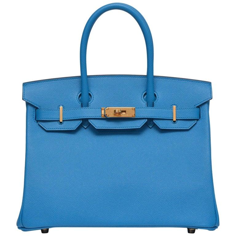 HERMES Birkin Epsom Calfskin Bleu Frida 30 CM    NEW Store Fresh For Sale