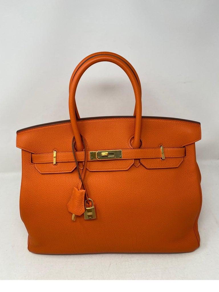 Hermes Birkin Feu Orange 35 Bag For Sale 9
