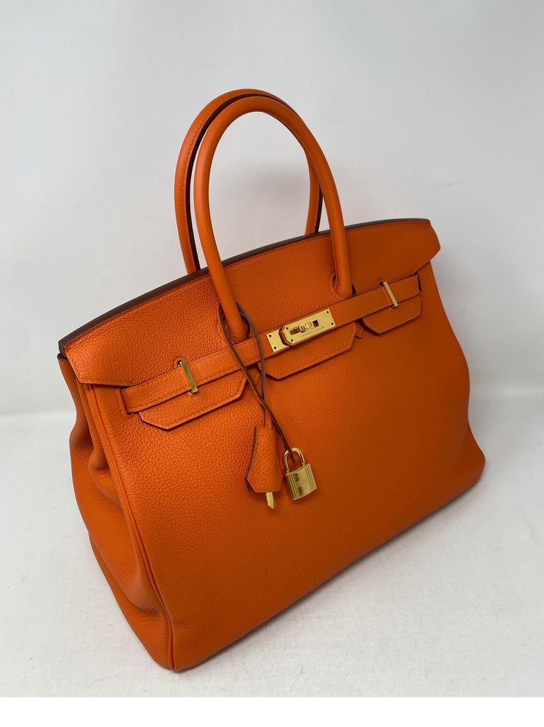 Hermes Birkin Feu Orange 35 Bag For Sale 10