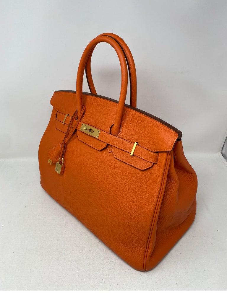 Hermes Birkin Feu Orange 35 Bag For Sale 11