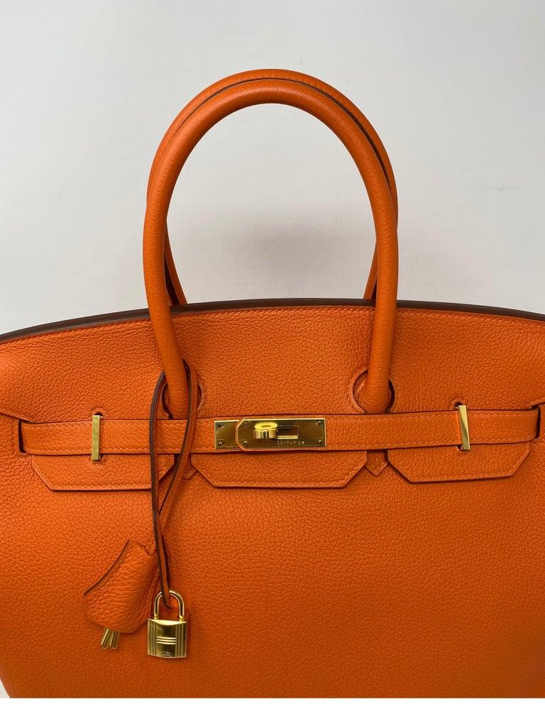Hermes Birkin Feu Orange 35 Bag For Sale 13