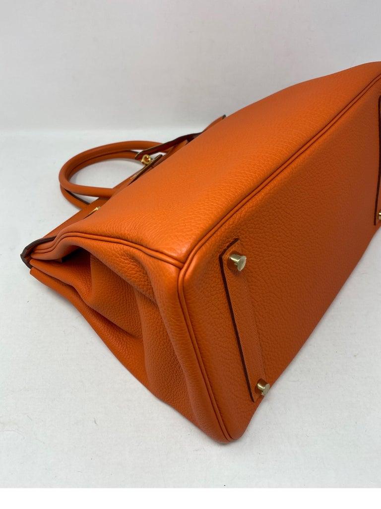 Red Hermes Birkin Feu Orange 35 Bag For Sale
