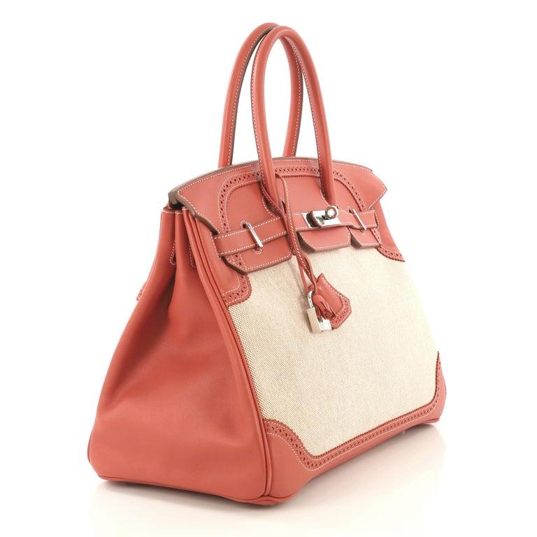 Beige Hermes Birkin Ghillies Handbag Toile and Sanguine Swift with Palladium Hardware  For Sale