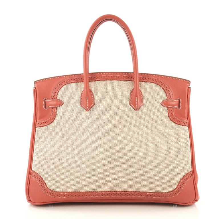 Hermes Birkin Ghillies Handbag Toile and Sanguine Swift with Palladium Hardware  In Good Condition For Sale In New York, NY