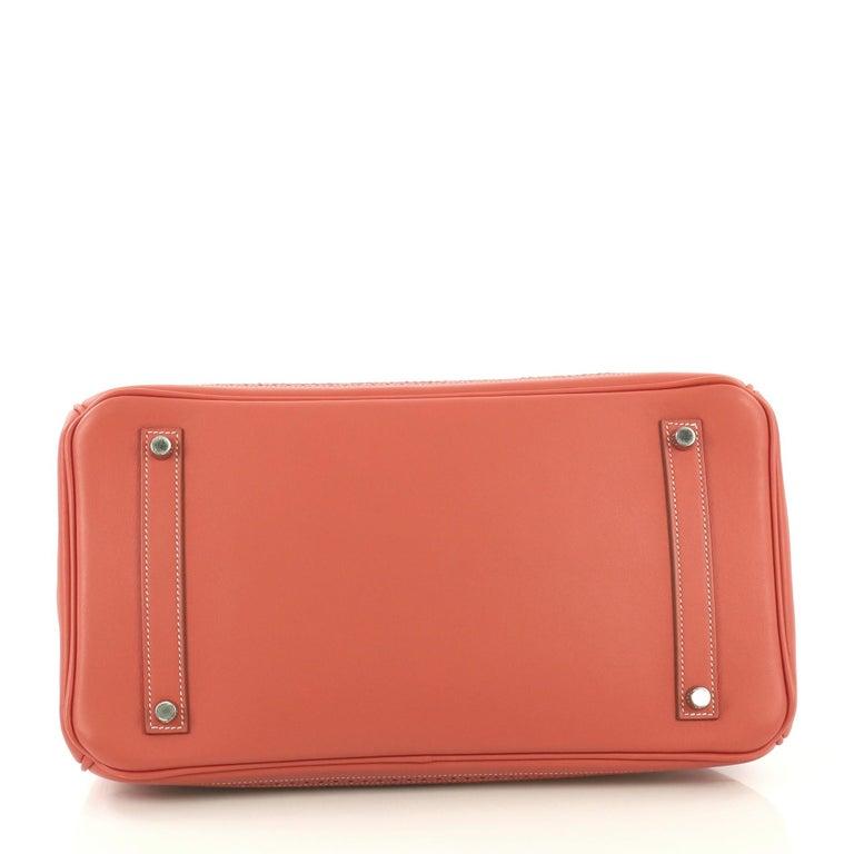 Women's Hermes Birkin Ghillies Handbag Toile and Sanguine Swift with Palladium Hardware  For Sale