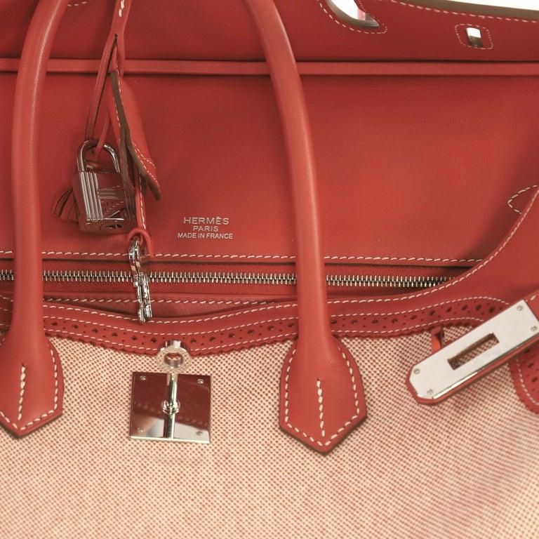Hermes Birkin Ghillies Handbag Toile and Sanguine Swift with Palladium Hardware  For Sale 1