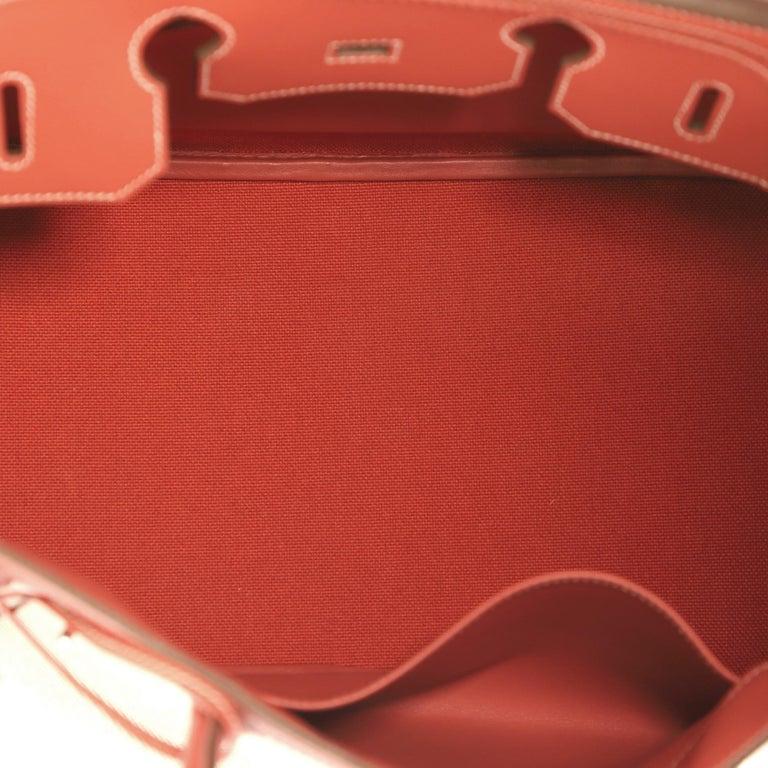 Hermes Birkin Ghillies Handbag Toile and Sanguine Swift with Palladium Hardware  For Sale 2