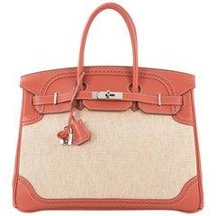 Hermes Birkin Ghillies Handbag Toile and Sanguine Swift with Palladium Hardware