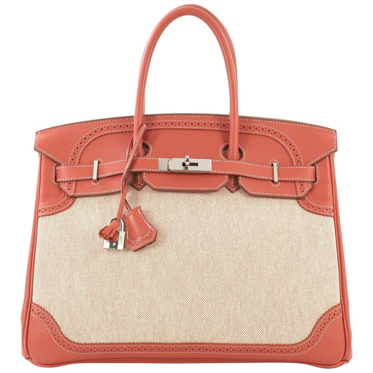 Hermes Birkin Ghillies Handbag Toile and Sanguine Swift with Palladium Hardware  For Sale