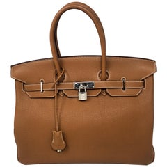 Hermes Birkin Gold 35 Palladium Hardware Bag
