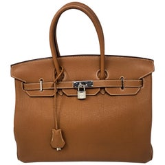 Hermes Birkin Gold 35 Palladium Hardware Bag