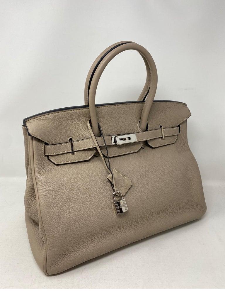 Brown Hermes Birkin Griss 35 For Sale