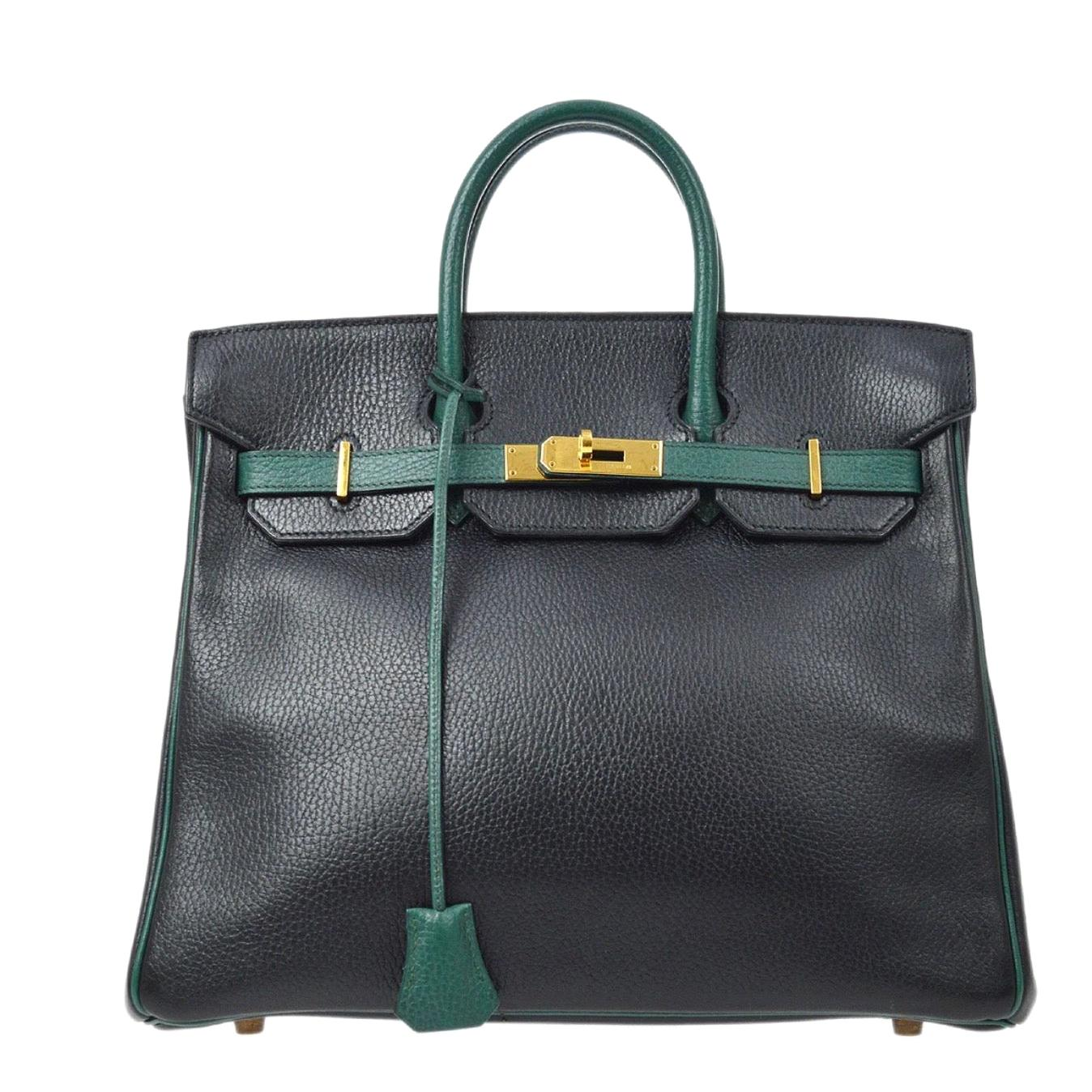 Hermes Birkin HAC 32 Black Green Gold Carryall Men's Travel Top Handle Tote Bag